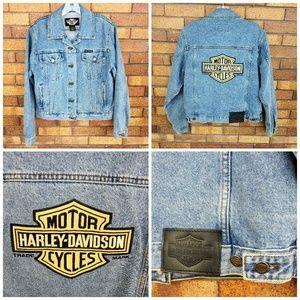 Harley Davidson Jean Jacket W/Harley Patch Small